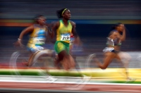 BEIJING - AUGUST 18: Shelly-Ann Fraser of Jamaica wins the Women's 100M during Day 9 of the Beijing 2008 Olympic Games at the National Stadium on August 17, 2008 in Beijing, China. (Photo by Donald Miralle)