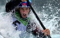 LONDON, ENGLAND - JULY 29: Vavrinec Hradilek of the Czech Republic competes in the Men's Kayak Slalom Prelims during Day 3 of the London 2012 Olympic Games on July 29, 2012 at the Lee Valley White Water Center Center in Hertfordshire, England. (Photo by Donald Miralle)
