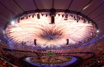 LONDON, ENGLAND - JULY 27: General view of the fireworks during the Opening Ceremonies as part of the London 2012 Olympic Games at Olympic Stadium on July 27, 2012 in London, England. (Photo by Donald Miralle)