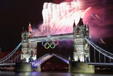 LONDON, ENGLAND - JULY 27: General view of the Tower Bridge with fireworks during the Opening Ceremonies as part of the London 2012 Olympic Games on July 27, 2012 in London, England. (Photo by Donald Miralle)